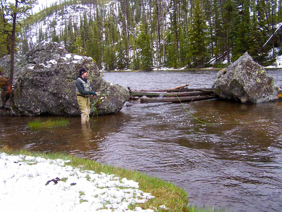 A fly fisher fishing in Yellowstone, late fall